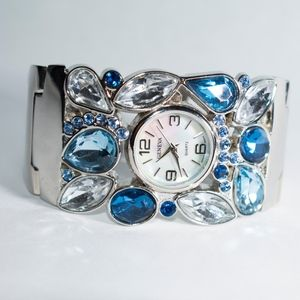 Accessories - Blue Jeweled Stainless Steel Watch